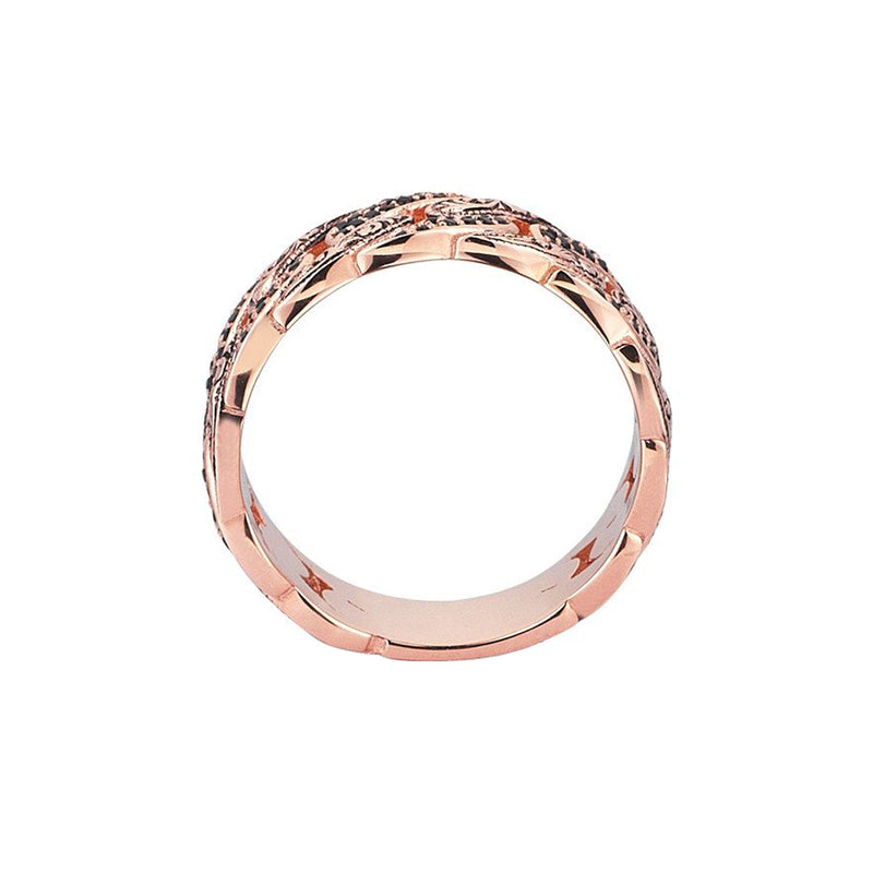 Classic Pave Chain Ring - Rose Gold - Pave Cubic Zirconia