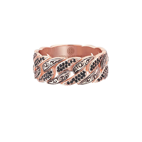 Classic Pave Chain Ring - Rose Gold - Pave Black Diamond