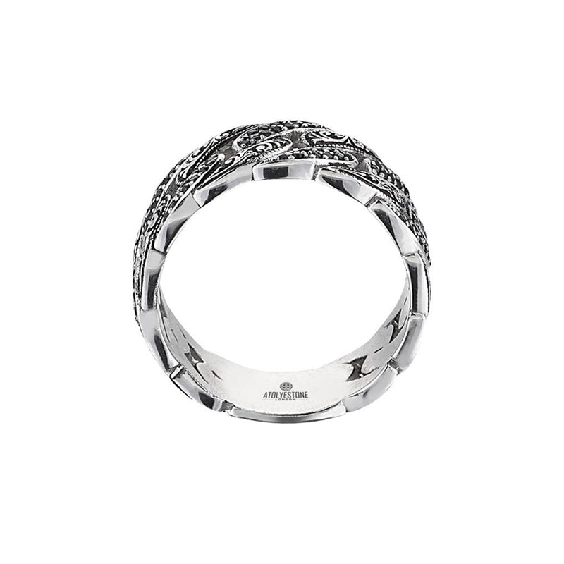Classic Pave Chain Ring - White Gold - Pave Cubic Zirconia