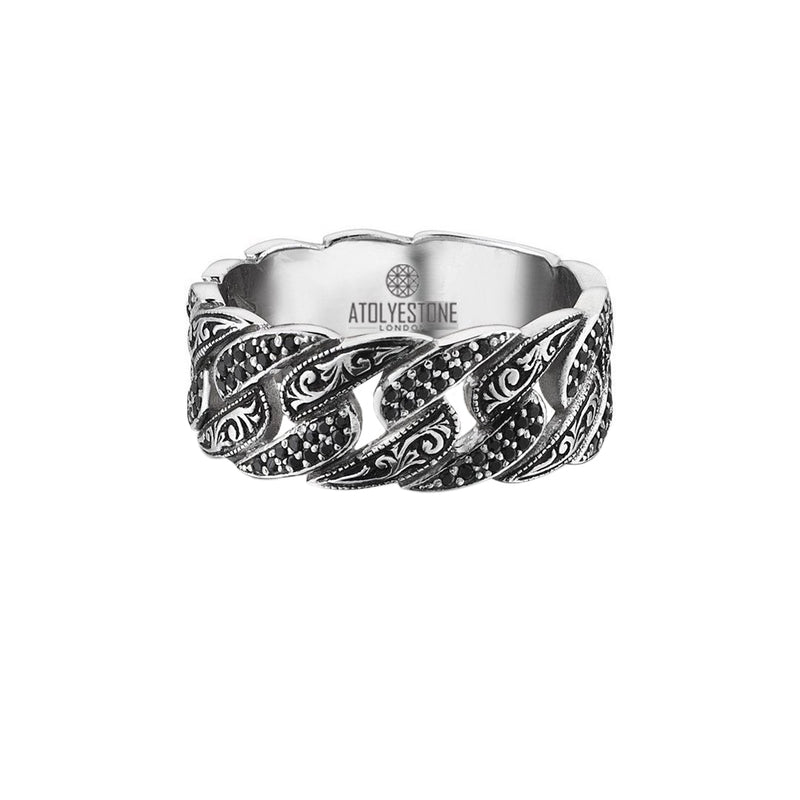 Classic Pave Chain Ring - White Gold - Pave Black Diamond