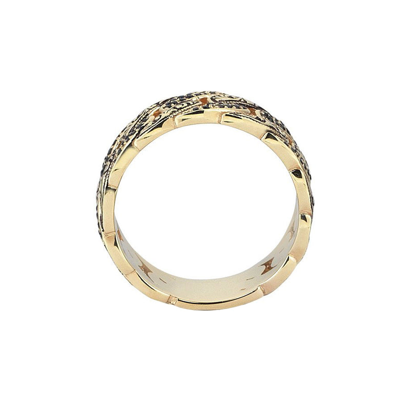 Classic Pave Chain Ring - Yellow Gold - Pave Cubic Zirconia