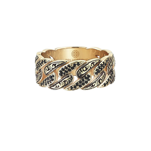 Classic Pave Chain Ring - Yellow Gold - Pave Black Diamond