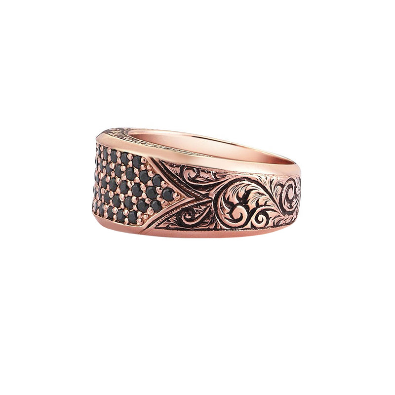 Classic Pave Signet Ring - Rose Gold - Black Diamond