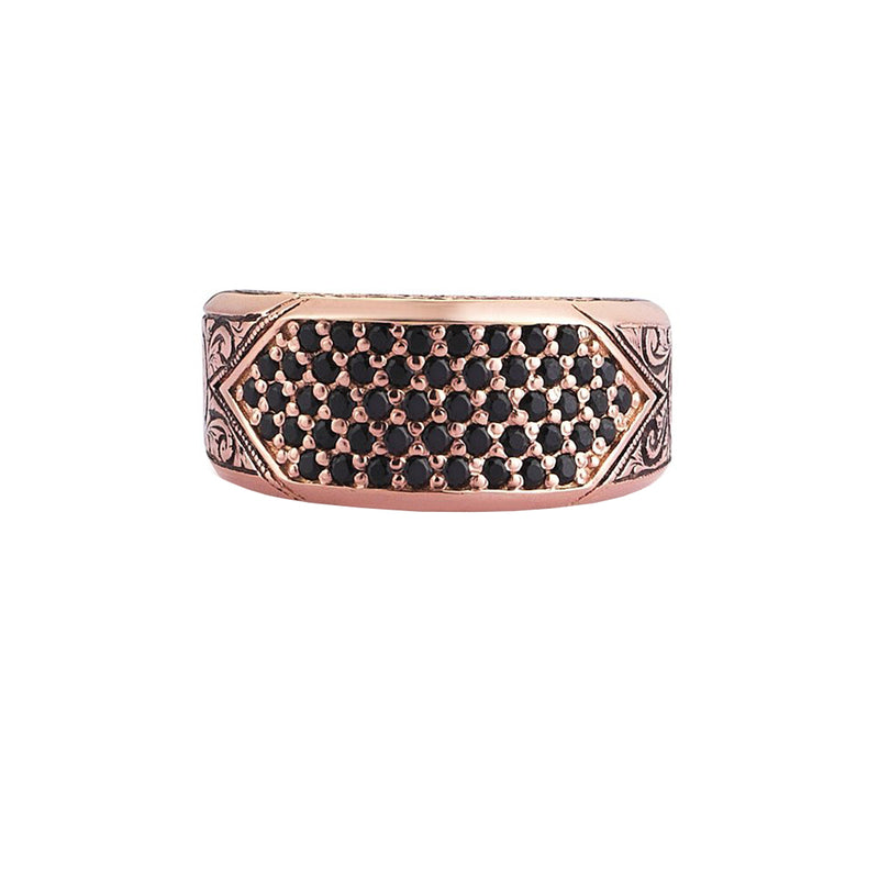 Classic Pave Signet Ring - Rose Gold - Pave Cubic Zirconia