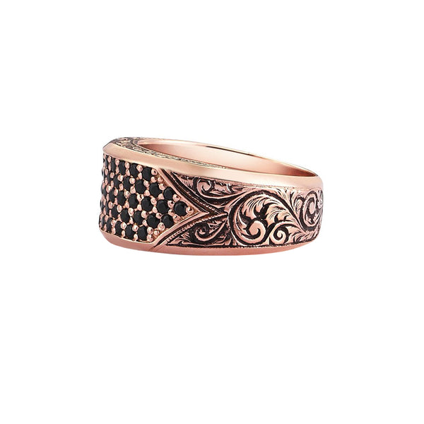 Classic Pave Signet Ring - Rose Gold - Pave Black Diamond