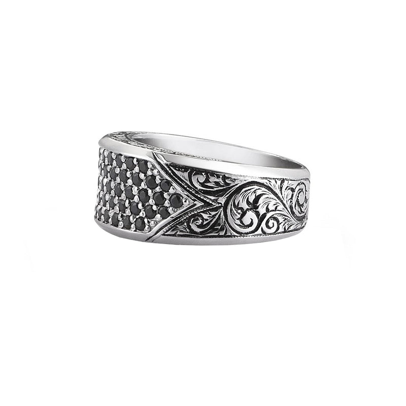 Classic Pave Signet Ring - White Gold - Black Diamond