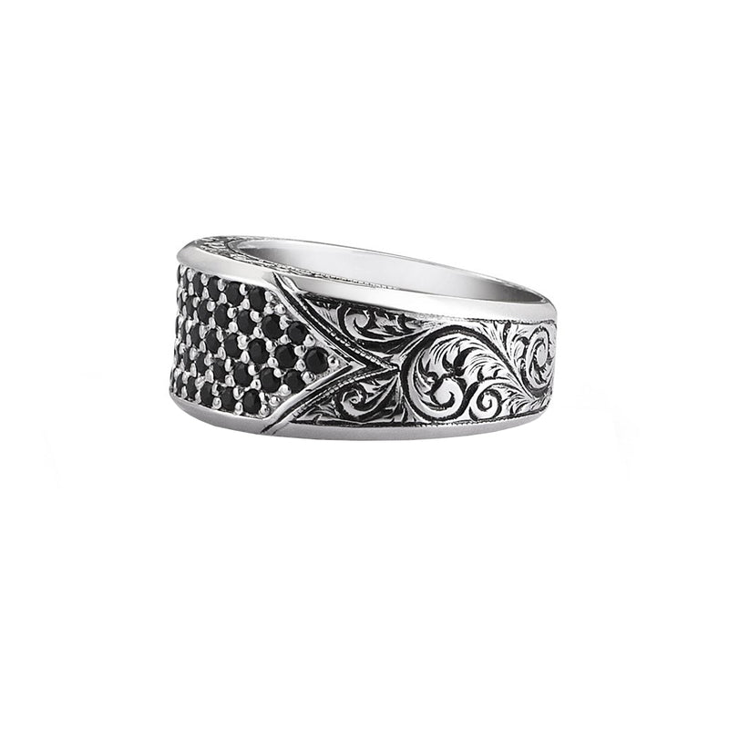 Classic Pave Signet Ring - White Gold - Pave Cubic Zirconia
