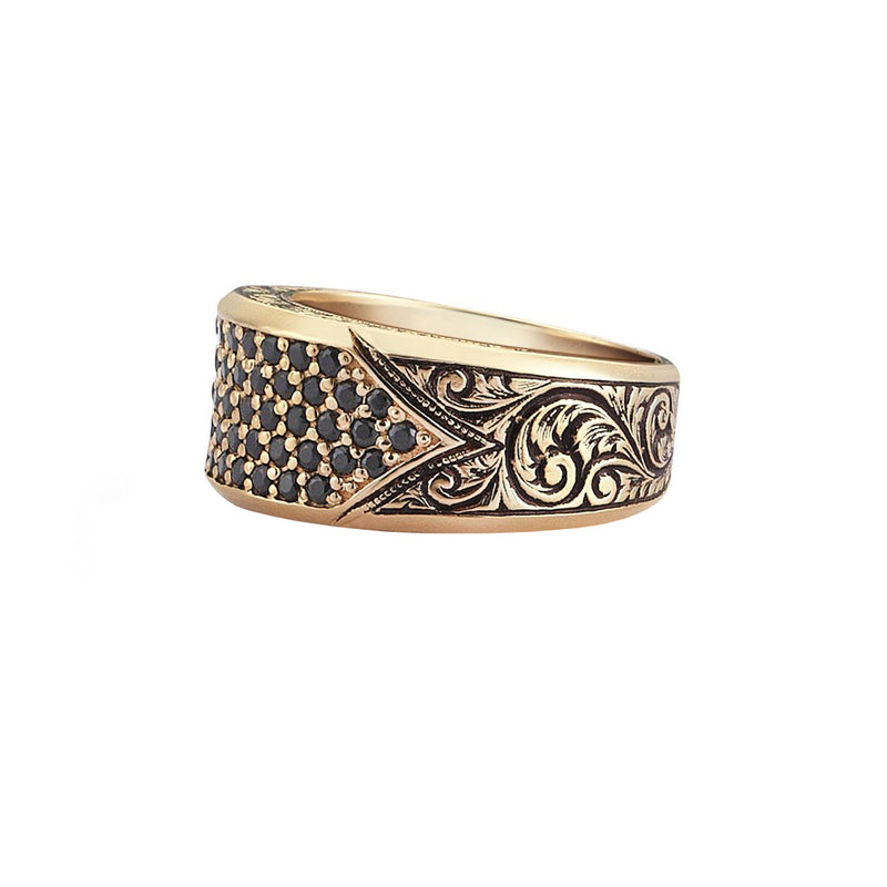 Classic Pave Signet Ring - Yellow Gold - Black Diamond