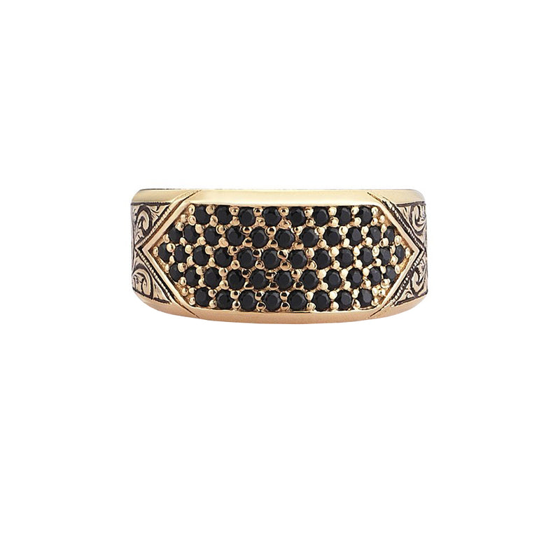 Classic Pave Signet Ring - Yellow Gold - Pave Cubic Zirconia