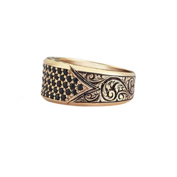 Classic Pave Signet Ring - Yellow Gold - Pave Black Diamond