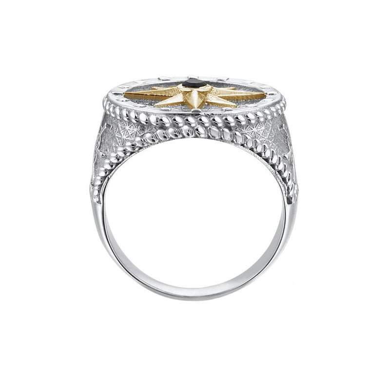 Compass Ring With Solid Gold