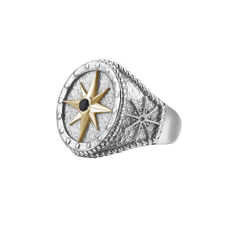 Compass Ring With Solid Gold - Yellow Gold