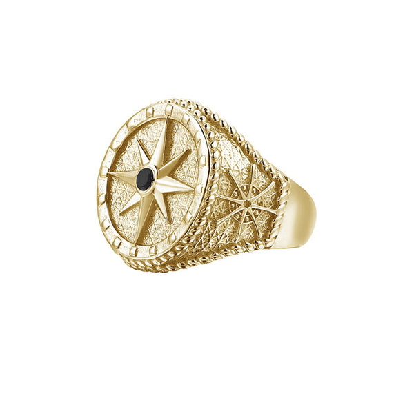 Compass Ring - Yellow Gold - Pave Cubic Zirconia
