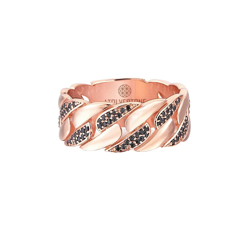 Pave Chain Ring - Rose Gold - Black Diamond