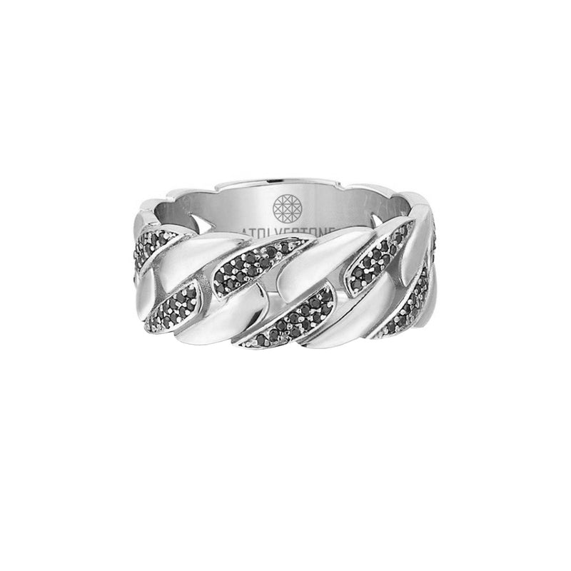 Pave Chain Ring - White Gold - Black Diamond
