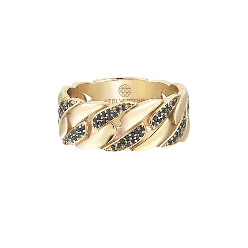 Pave Chain Ring - Yellow Gold - Black Diamond