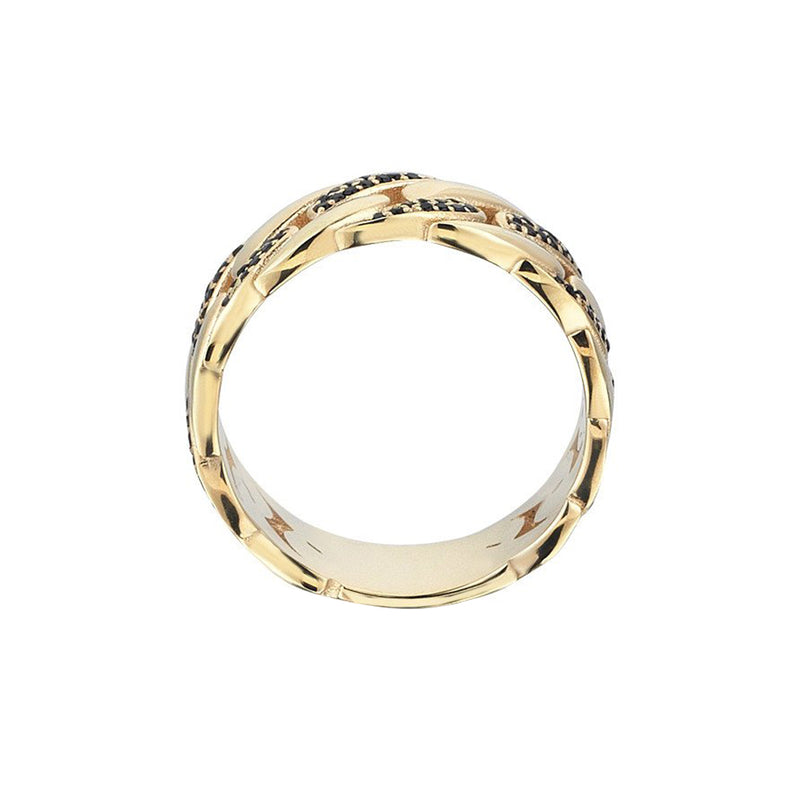 Pave Chain Ring - Solid Gold