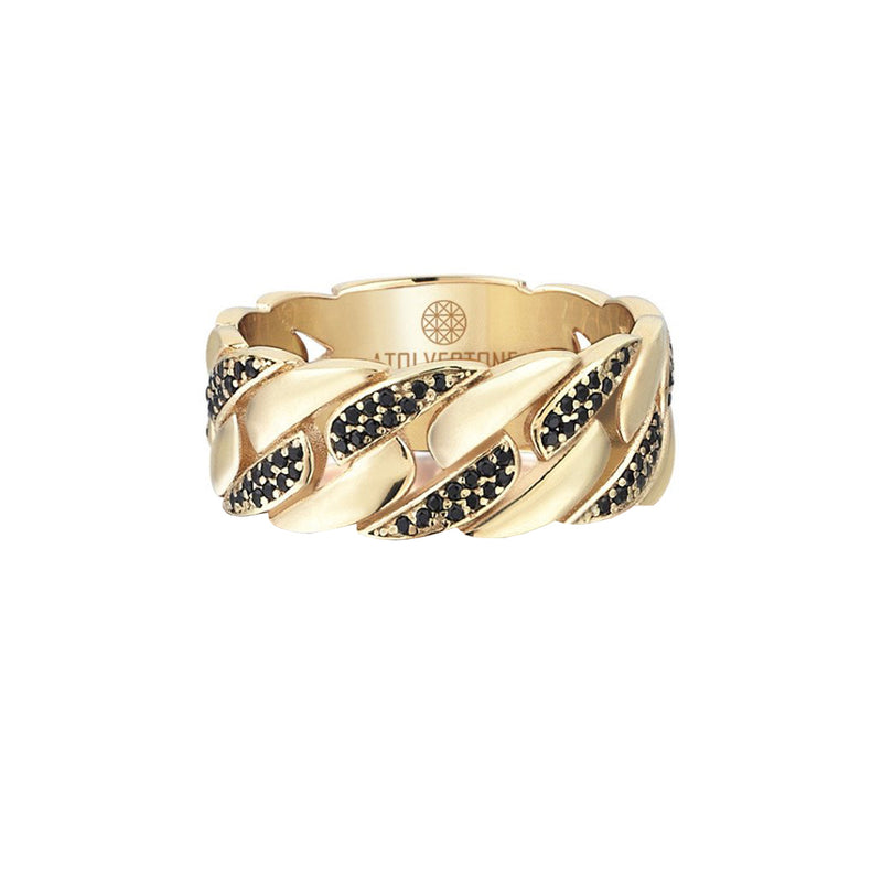 Pave Chain Ring - Yellow Gold