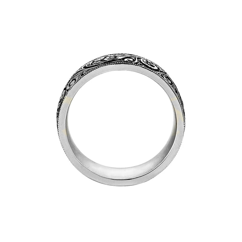 Mens Classic Band Ring - White Gold