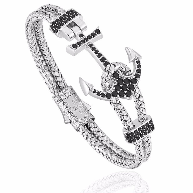 Mens Anchor Bangle - White Gold