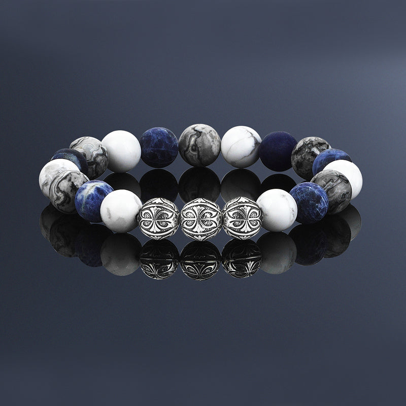 PREMIUM MULTISTONE APEX BEADED BRACELET FOR MEN