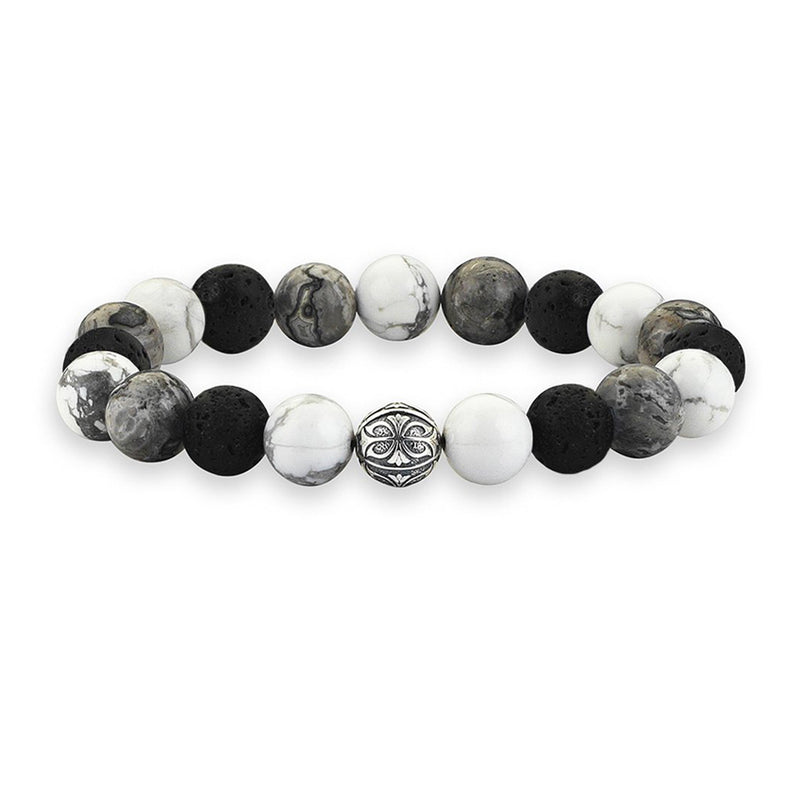 MULTISTONE APEX BEADED BRACELET - LAVASTONE - MEN