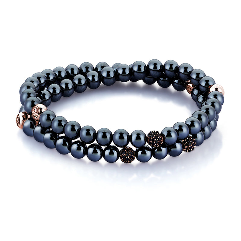 Hematite Double Beaded Bracelet - Rose Gold