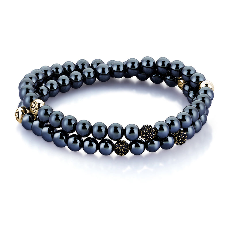 Hematite Double Beaded Bracelet - Yellow Gold