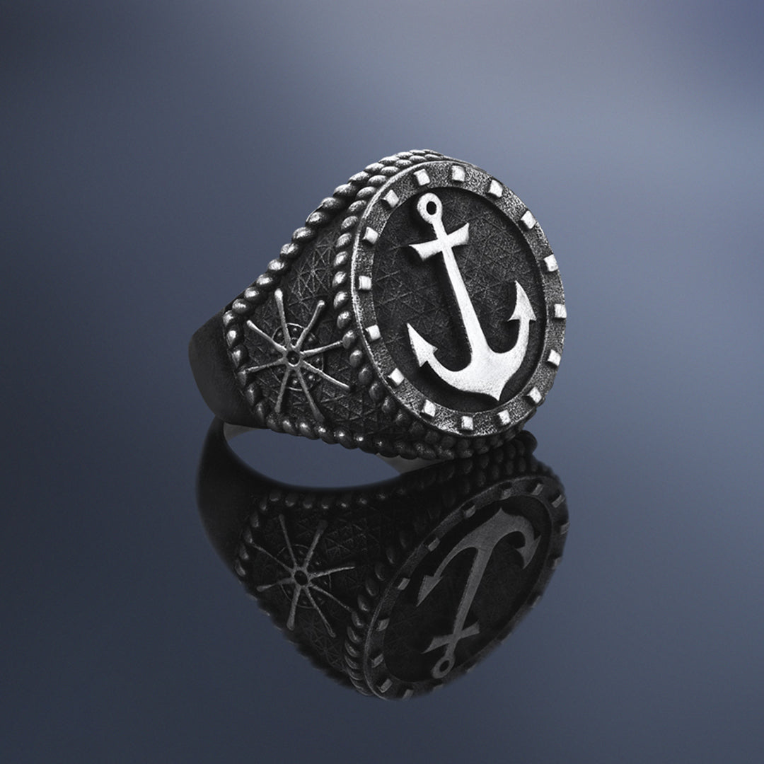 Sailor's Anchor Ring - Solid Silver