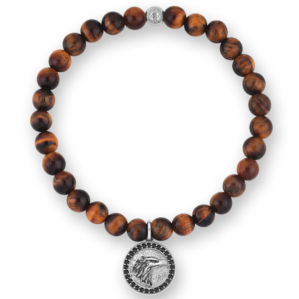 Eagle Charm Beaded Bracelet - Tiger Eye