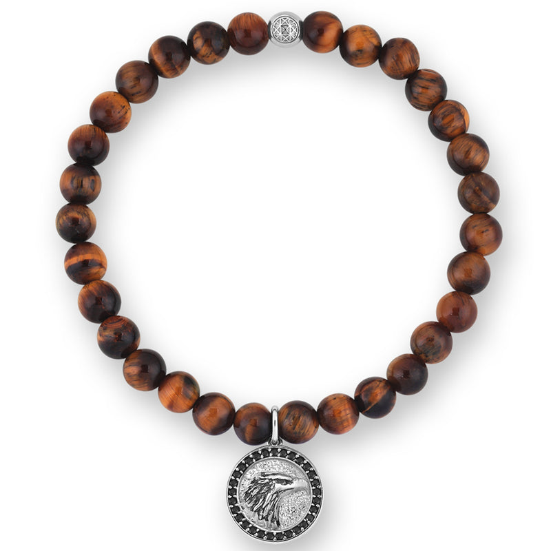 Women's Eagle Charm Bracelet - Silver - Tiger Eye