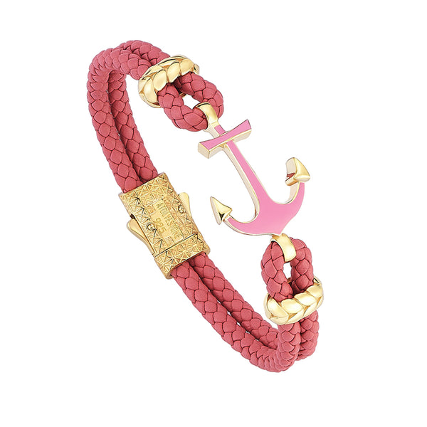 Women's Pink Lacquer Anchor Leather Bracelet