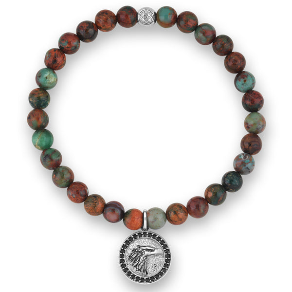 Mens Zenith Eagle Charm Beaded Bracelet - Green Chrysocolla