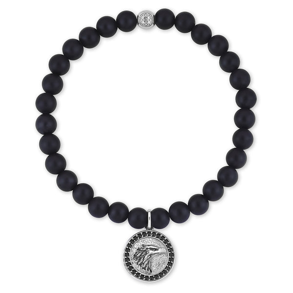Eagle Charm Beaded Bracelet - Agate