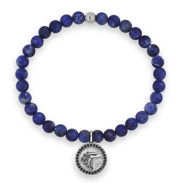 Mens Zenith Eagle Charm Beaded Bracelet - Sodalite