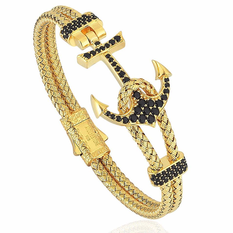 Mens Anchor Bangle - Yellow Gold