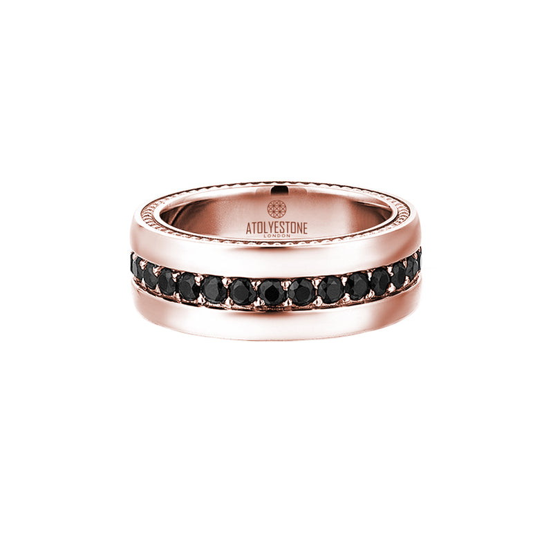 8.5 mm Pave Band Ring - Solid Gold