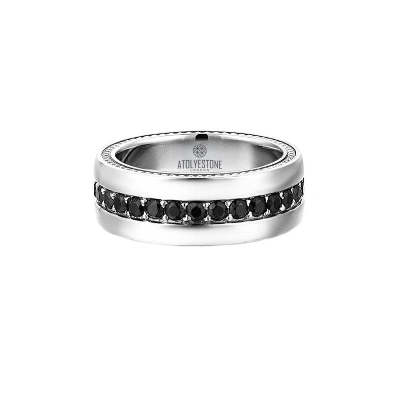 Pave Band Ring - Solid Silver - Black Diamond