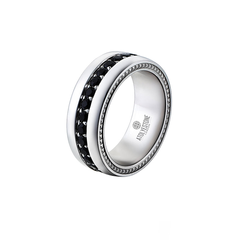 Pave Band Ring - Solid Silver - Black Diamond for Men