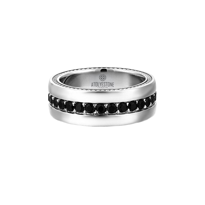 Pave Band Ring - Solid Silver - Cubic Zirconia for Men
