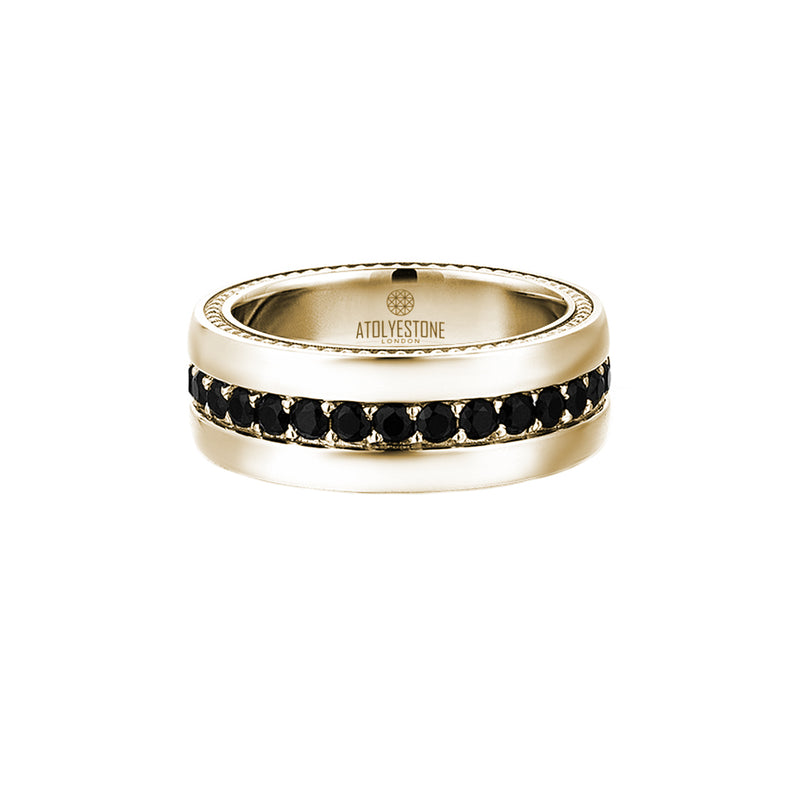 8.5 mm Pave Band Ring - Yellow Gold