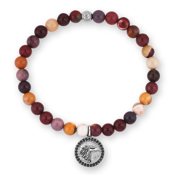 Mens Exclusive Eagle Charm Beaded Bracelet - Mookaite