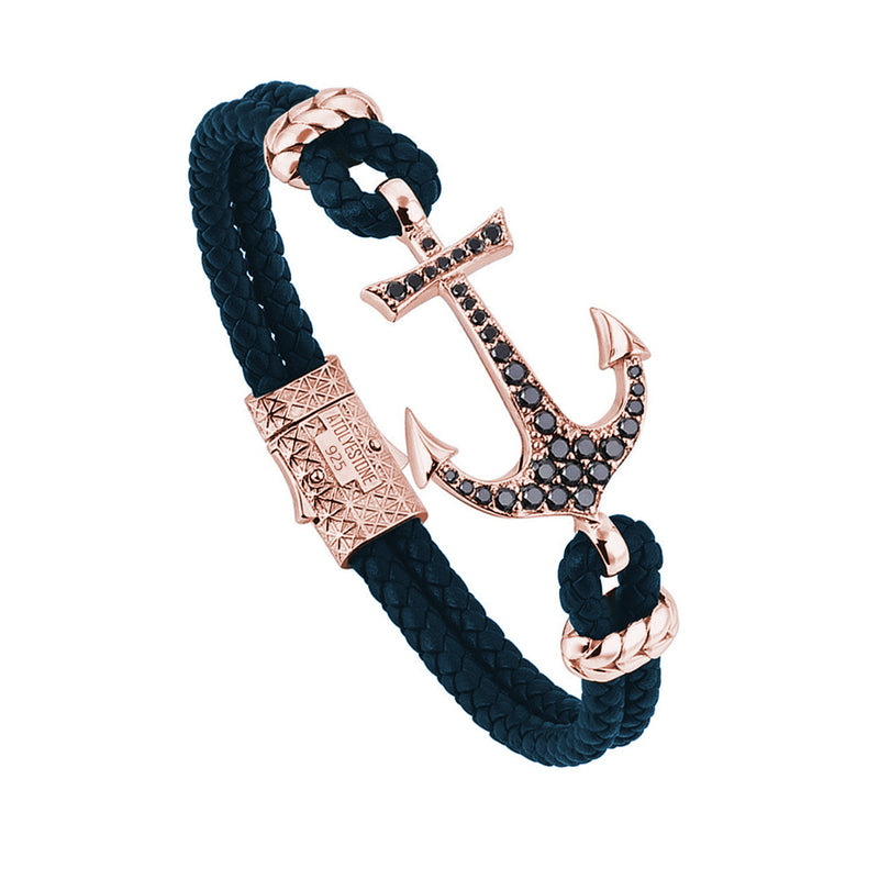 Anchor Leather Bracelet - Rose Gold - Navy Leather