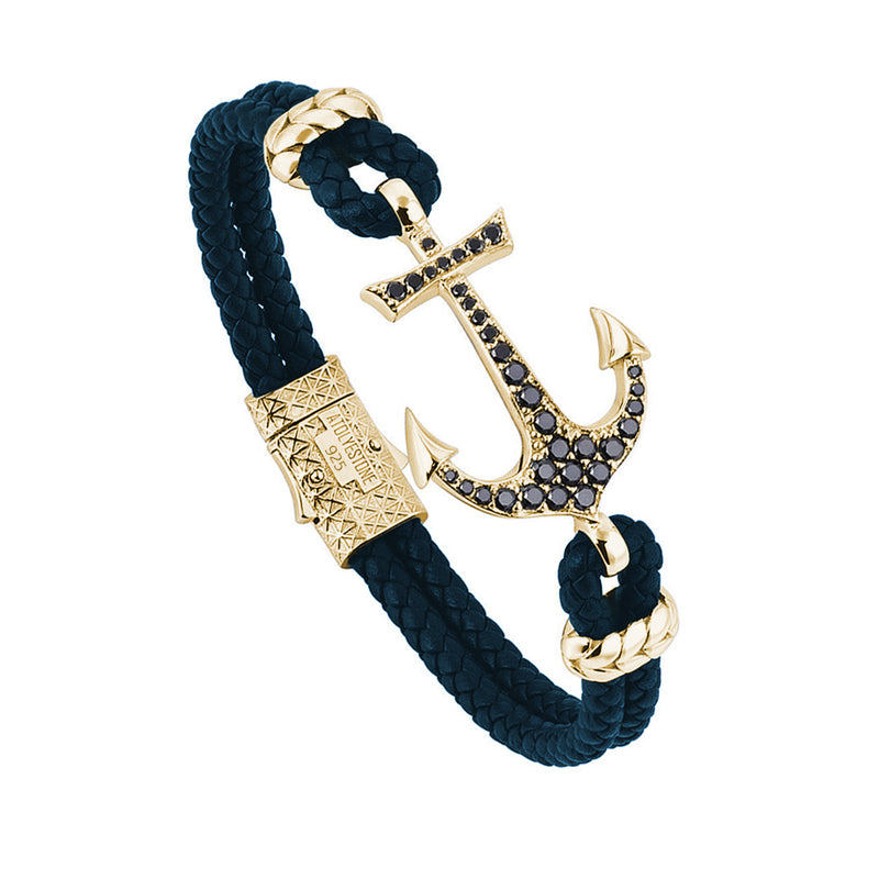 Anchor Leather Bracelet - Yellow Gold - Navy Leather