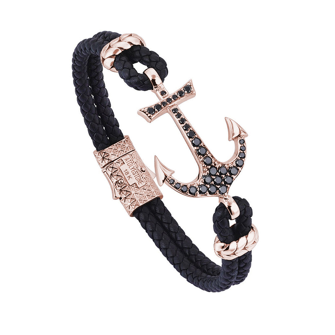 Anchor Leather Bracelet - Solid Rose Gold - Black Leather - Paved Cubic Zirconia