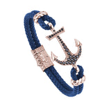 Anchor Leather Bracelet -Solid Rose Gold - Blue Leather