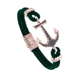 Anchor Leather Bracelet -Solid Rose Gold - Dark Green