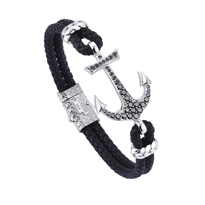 Anchor Leather Bracelet - Solid White Gold - Black Leather - Black Diamond