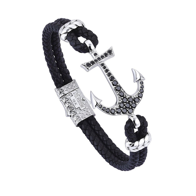 Anchor Leather Bracelet - Solid White Gold - Black Leather - Cubic Zirconia