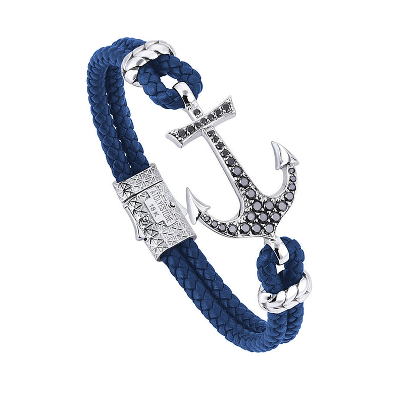 Anchor Leather Bracelet - Solid White Gold - Blue Leather - Black Diamond